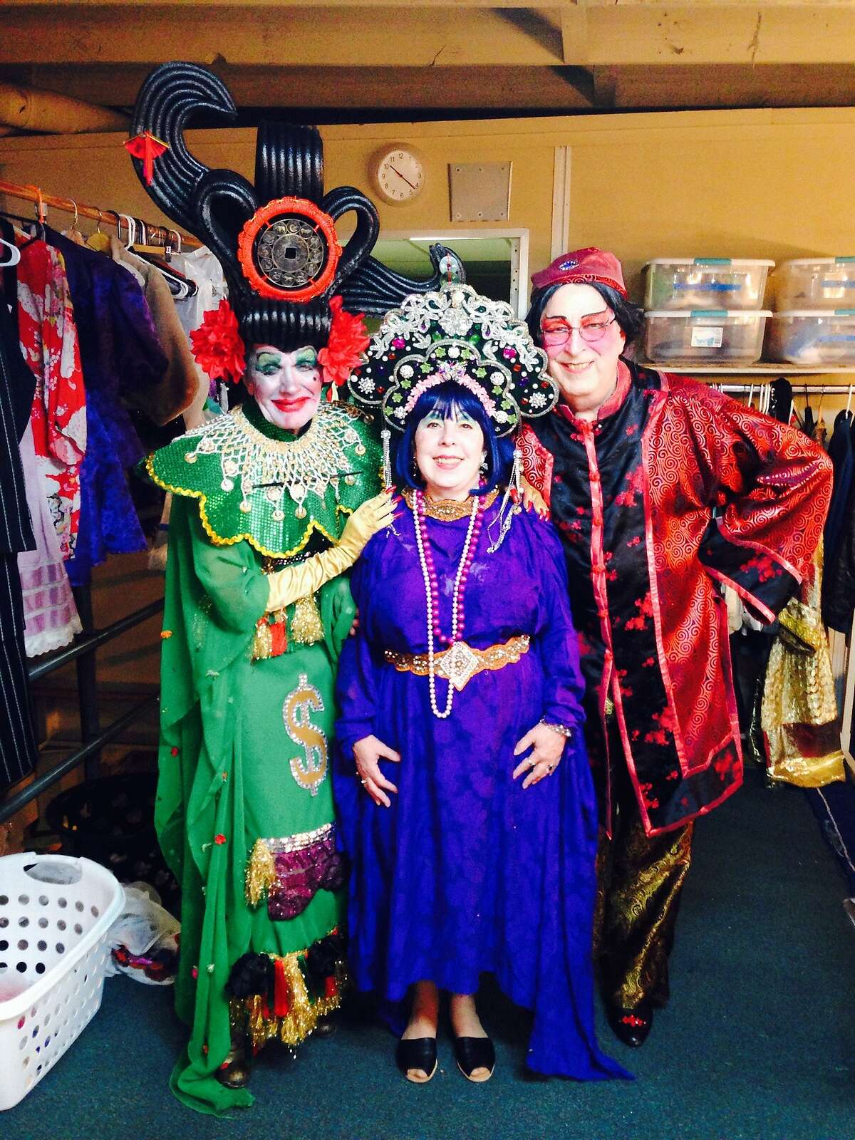 "Original Cockettes Rumi Missabu as Madam Gin Sling,Pam Tent as Mrs. Goldberg and Scrumbly Koldewyn as the Amah backstage at ""Pearls Over Shanghai"""