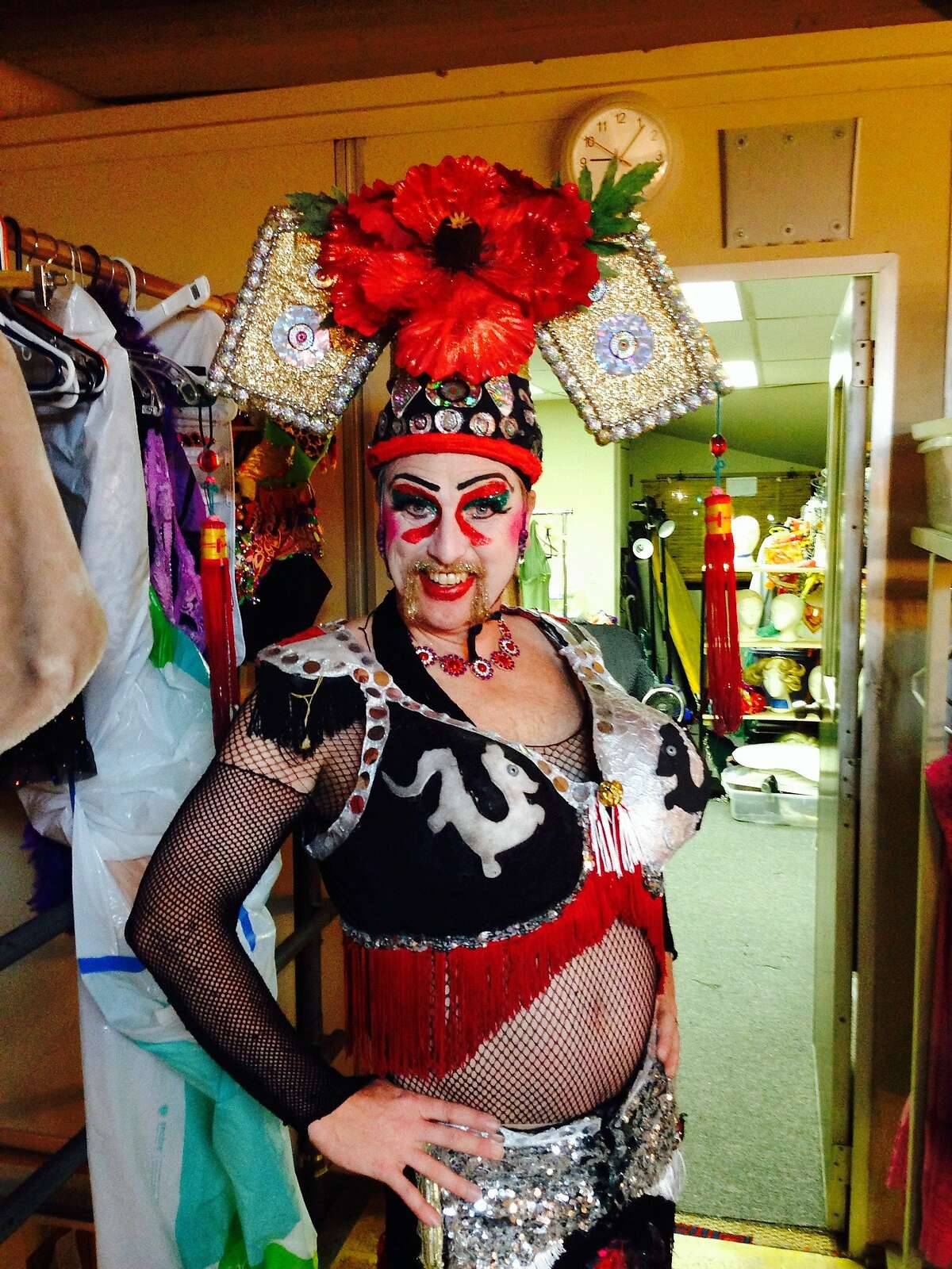 """Russell Blackwood as Mother Fu backstage at """"Pearls Over Shanghai"""""""