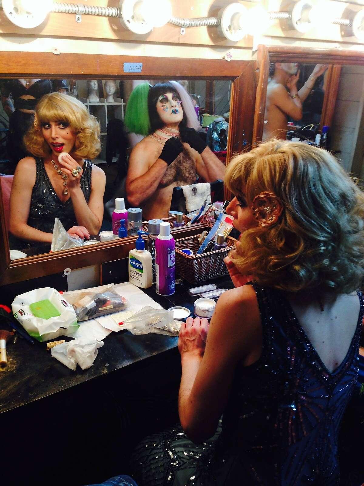 "Noah Haydon as Petrushka and Eric Tyson Wertz as Lili Frustrata backstage at ""Pearls Over Shanghai"""