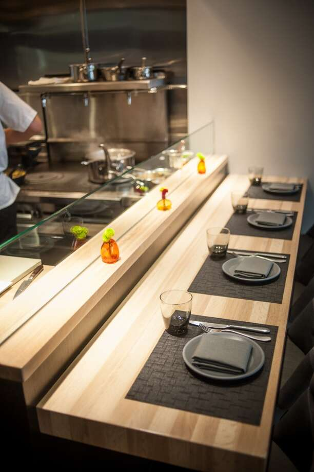 The counter at Aveline, where Thompson will serve a 10-course, $100 omakase menu later this month. Photo: Wes Rowe