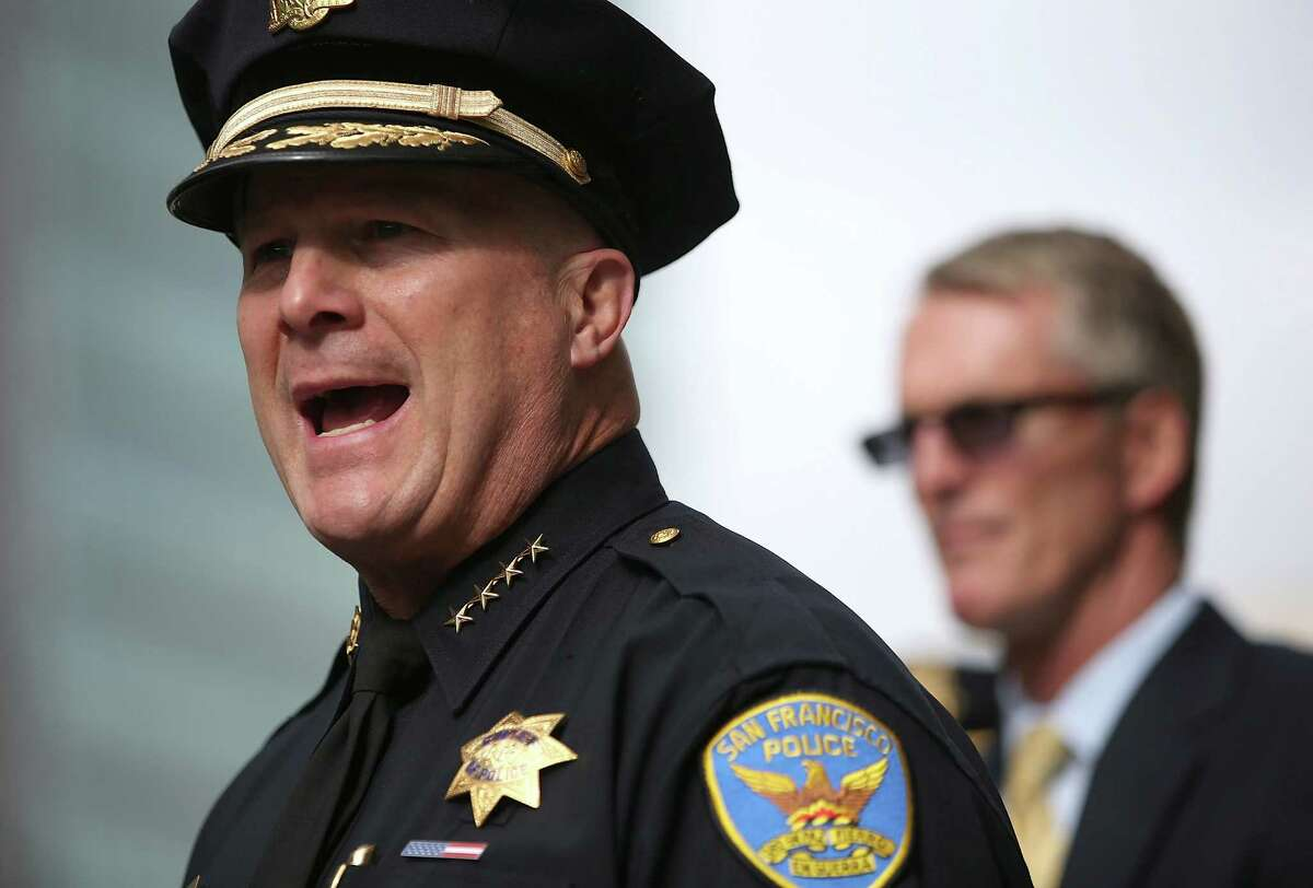 San Francisco Police Chief Greg Suhr, seen at a June news conference, said Officer David Goff asked suspect O'Shaine Evans to show him his hands but Evans pointed a gun at him, forcing the officer to fire seven times into the car, striking Evans twice and once hitting the rear passenger.