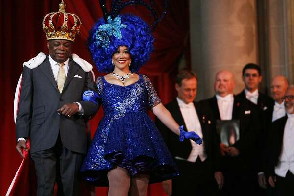 Former Mayor Willie Brown Jr. is escorted down City Hall during the Beach Blanket Babylon performance in San Francisco, Calif. on Friday, June 6, 2014. The 40th Anniversary of Beach Blanket Babylon featured appearances by Mayor Ed Lee, George Schultz, Michael Tilson Thomas and others.