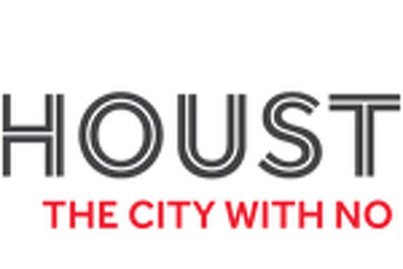 "Logo for new city image campaign sponsored by the Greater Houston Partnership. The slogan is ""Houston: The City With No Limits."""