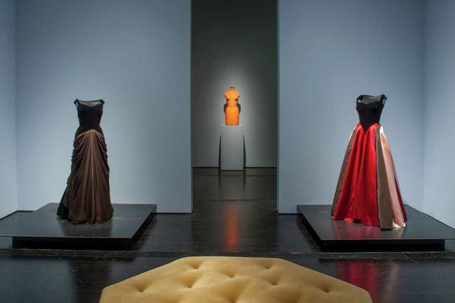 Gowns made for Dominique de Menil are on view in the exhibition at the Menil Collection through Sept. 7. Photo: Paul Hester / ONLINE_YES