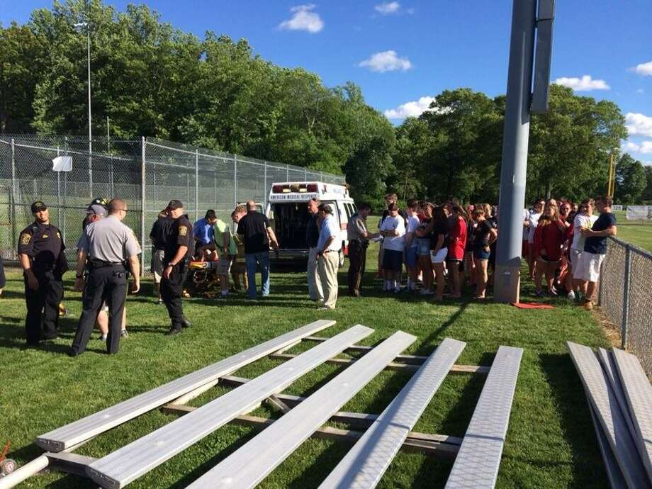 A portable bleacher collapsed during the CIAC playoff game between Trumbul and Fairfield Warde at Trumbull HIgh School