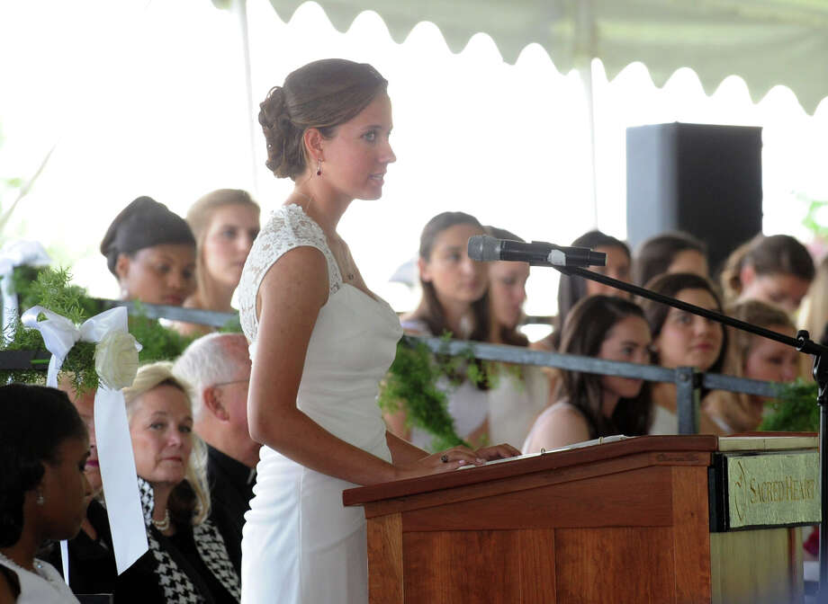 Convent of the Sacred Heart Co-Valedictorian, Tara Hammonds, speaks during the Commencement at the school in Greenwich, Friday afternoon, June 6, 2014. Photo: Bob Luckey / Greenwich Time