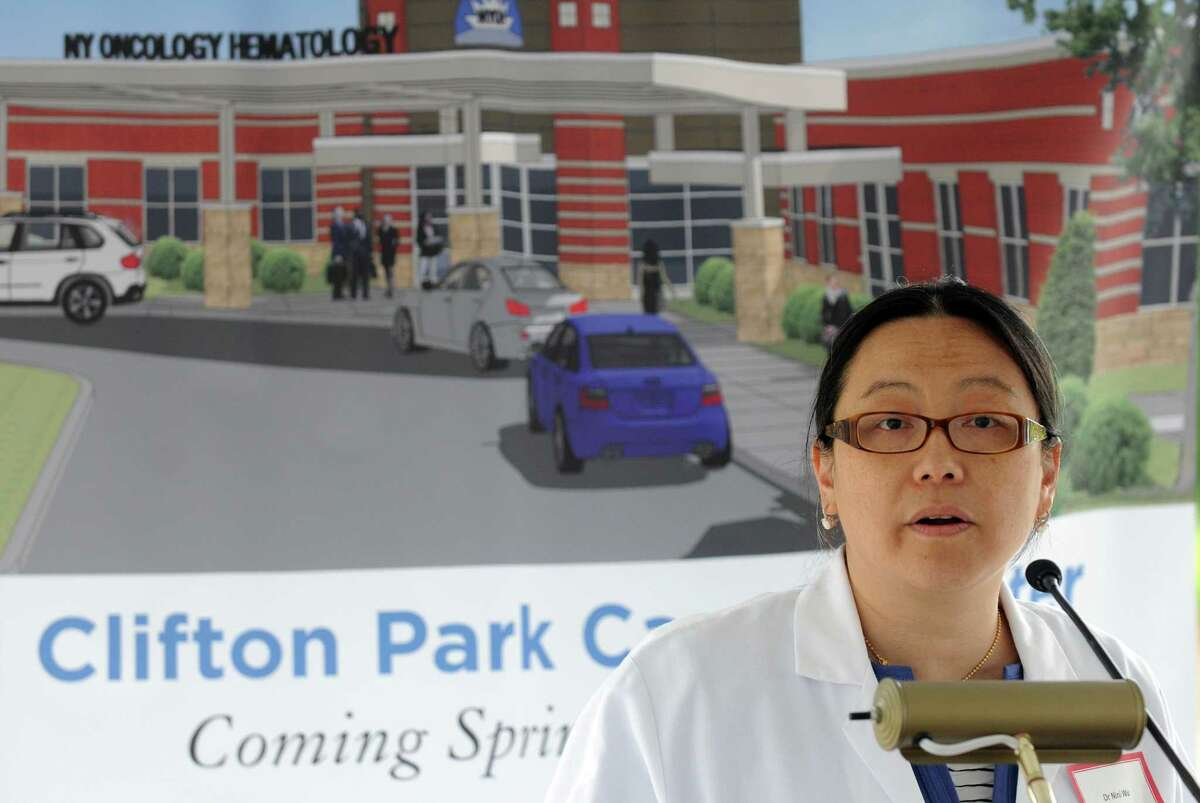 Wini Wu, MD and president of NYOH, speaks prior to a groundbreaking for new cancer center for New York Oncology Hematology Friday morning, June 6, 2014, in Clifton Park, N.Y. Columbia Development is managing the project and BBL Medical Facilities is the builder. (Michael P. Farrell/Times Union)