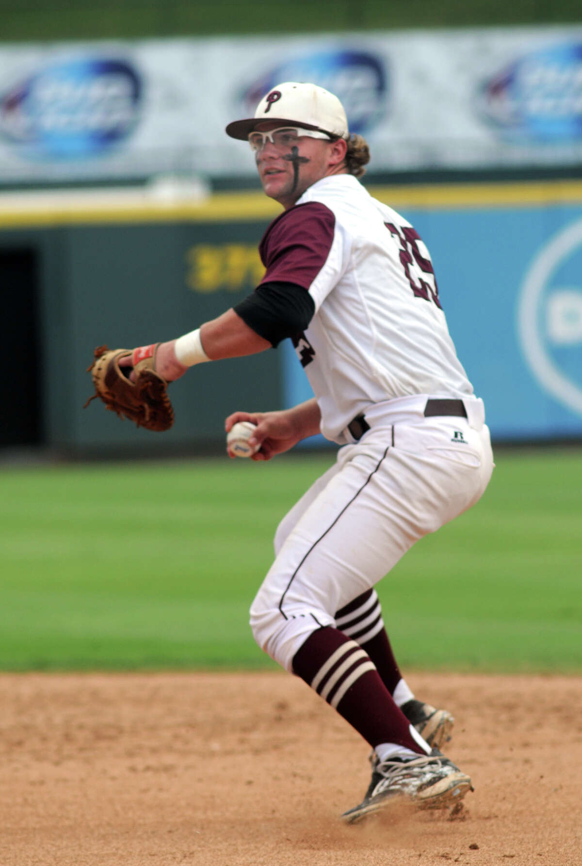 Pearland senior first baseman makes a play in the top of the 4th inning against Lewisville Flower Mound in their Class 5A UIL Baseball State Championships matchup at Dell Diamond in Round Rock on Friday.