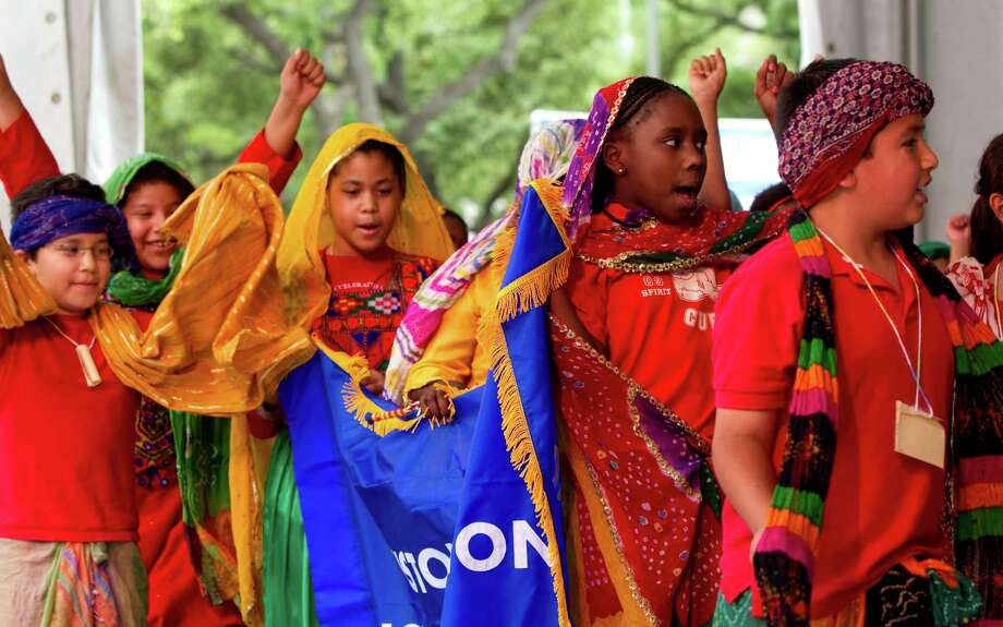 #1 Harris CountyNumber of languages spoken by ELL students: 113Most common language, other than Spanish: VietnameseStudents representing Houston's sister city Karachi, Pakistan, parade on the stage during the opening ceremony for Houston International Festival outside City Hall Friday, April 16, 2010, in Houston. This year's IFest will highlight the islands of the Caribbean. ( Brett Coomer / Houston Chronicle ) Photo: Brett Coomer, Staff / Houston Chronicle