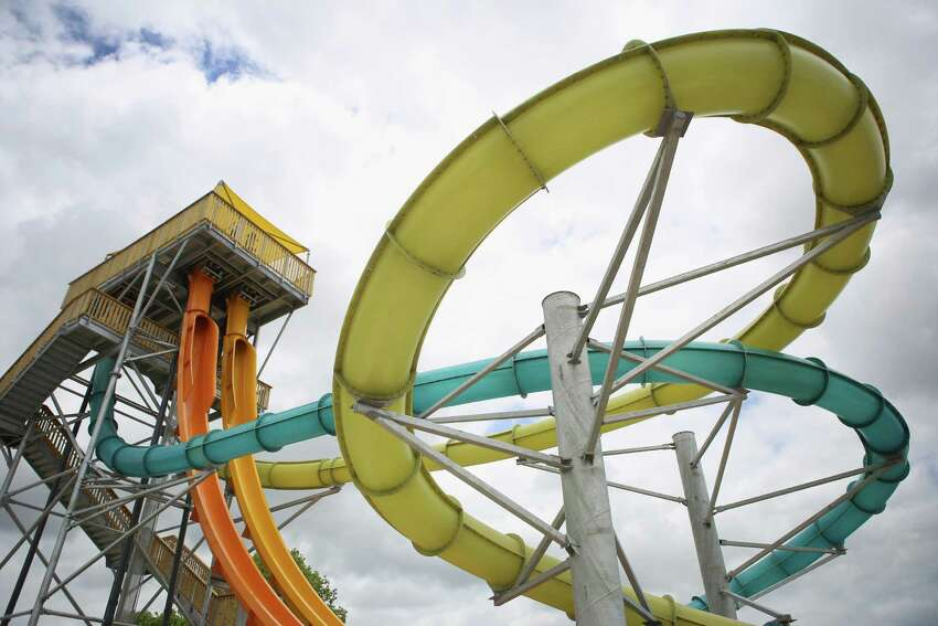 The Bahama Blaster water slide at Six Flags Fiesta Texas is pictured on Friday, June 6, 2014. Bahama Blaster, new for the park's 2014 season, features four body slides and is touted as the world's steepest.
