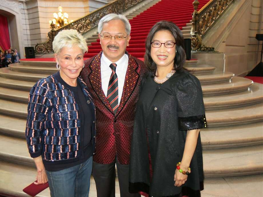 Producer Jo Schuman Silver and her show, Beach Blanket Babylon, were honored today on their 40th anniversary by Mayor Ed Lee (center) and his wife, Anita Lee. Photo: Catherine Bigelow