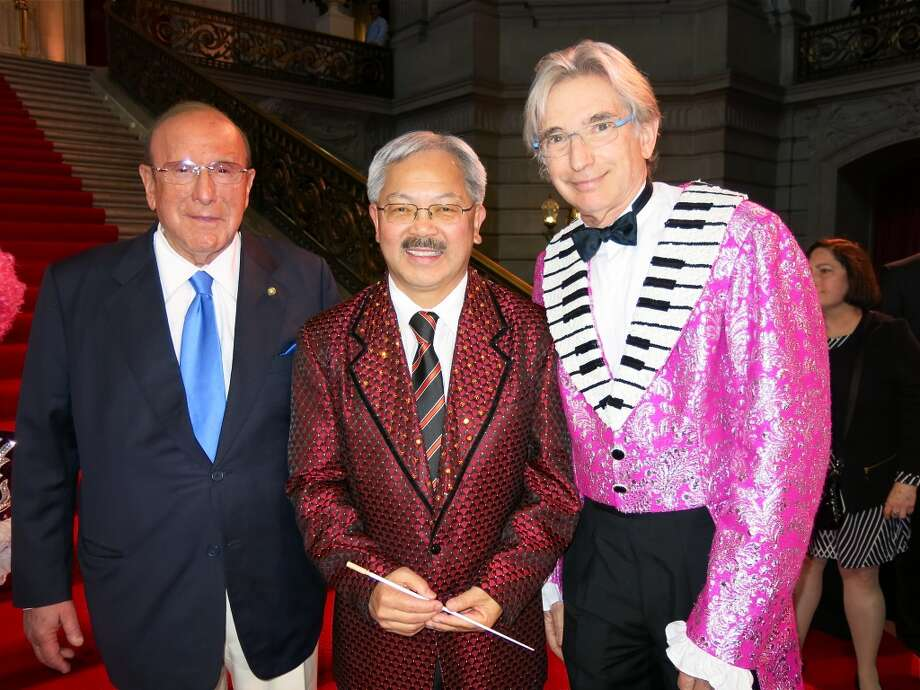 Music mogul Clive Davis (cousin of Jo Schuman Silver, at left) with Mayor Lee and S.F. Symphony Maestro Michael Tilson Thomas. Photo: Catherine Bigelow
