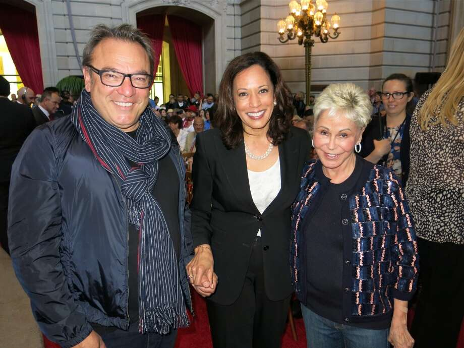 Designer Stanlee Gatti (left) with Attorney General Kamala Harris and Jo Schuman Silver. Photo: Catherine Bigelow