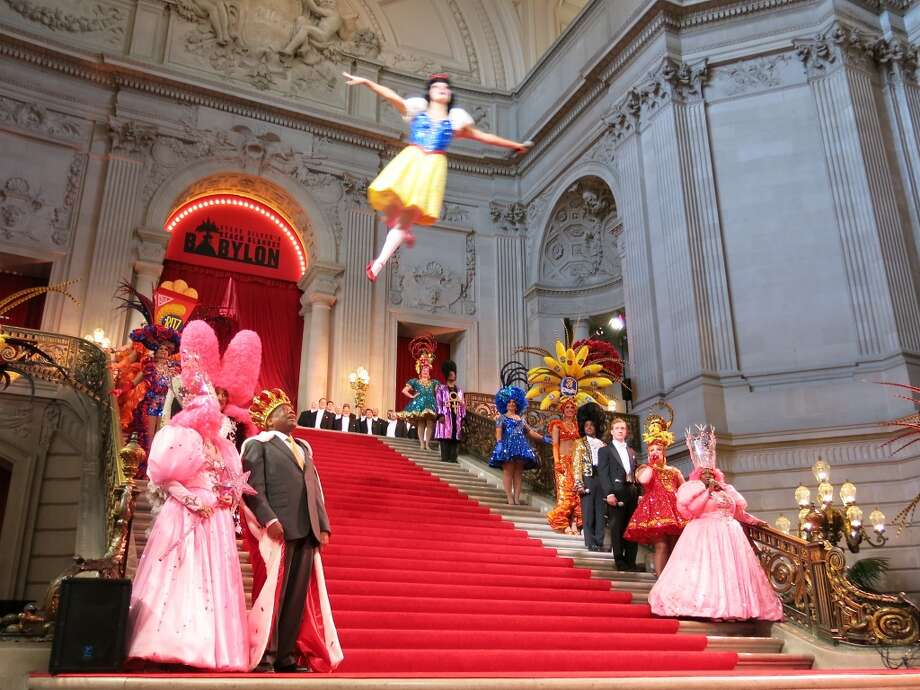 Snow White flew over the crowd in the Rotunda of City Hall. Photo: Catherine Bigelow