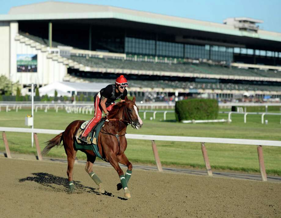 California Chrome passes the main building of Belmont Park Friday morning, June 6, 2014, during his morning workout. The race favorite will attempt to make history Saturday if he wins the Triple Crown of thoroughbred racing with a win in the 146st running of the Belmont Stakes at Belmont Park in Elmont, N.Y.  (Skip Dickstein / Times Union) Photo: SKIP DICKSTEIN