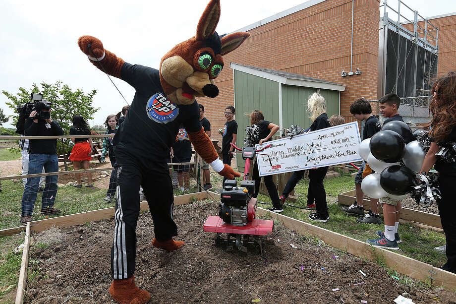 The San Antonio Spurs Coyote tries to start a tiller at Harris Middle School on Monday, April 14, 2014. Photo: Jerry Lara, San Antonio Express-News File Photo / ©2014 San Antonio Express-News