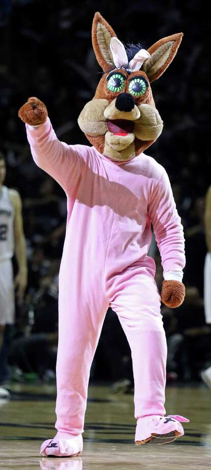 The Spurs Coyote performs during Game 1 in the first  round of the Western Conference playoffs Sunday, April 20, 2014 at the AT&T Center. The Spurs won 90-85. Photo: Edward A. Ornelas, San Antonio Express-News File Photo / © 2014 San Antonio Express-News