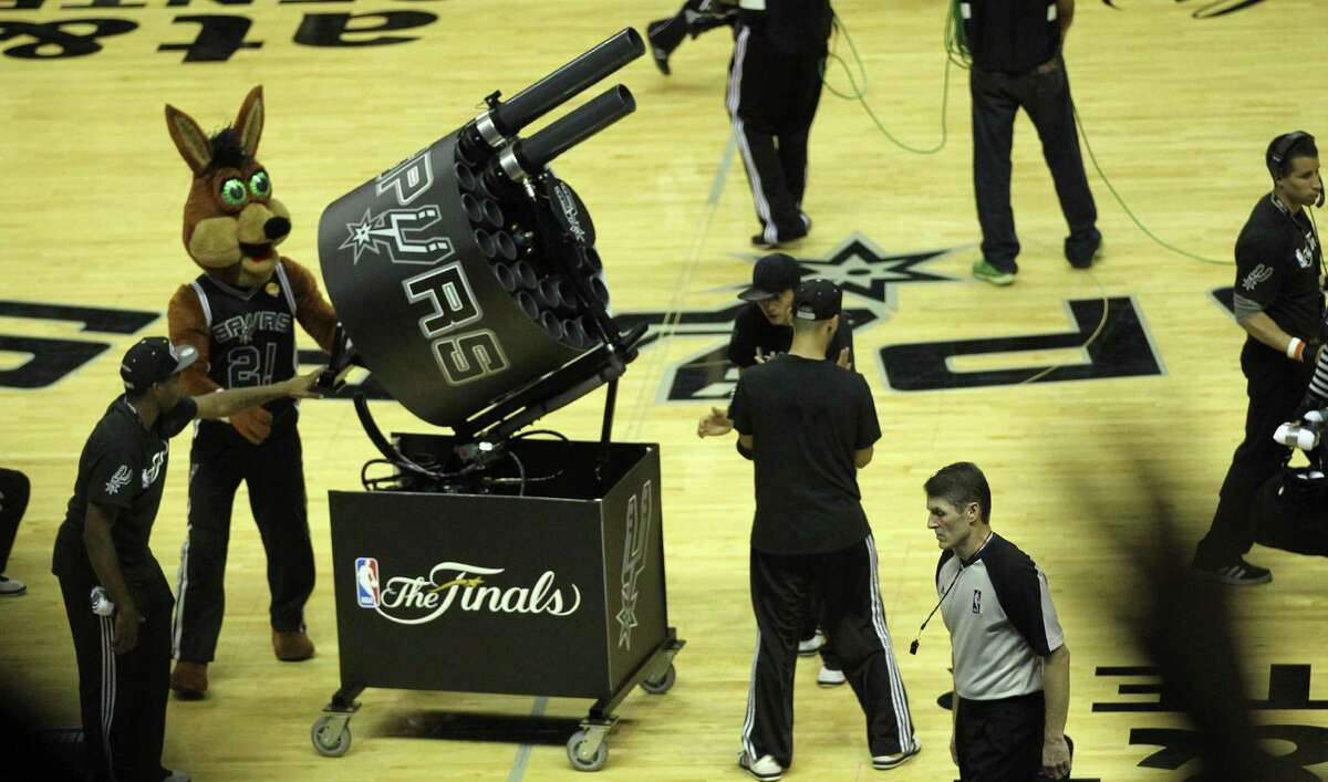 23. The Spurs Coyote was one of the inventors of the T-shirt gun, way back in the 1990s. Read more about how the first T-shirt guns used by the Spurs Coyote and other NBA mascots came to be on ExpressNews.com.