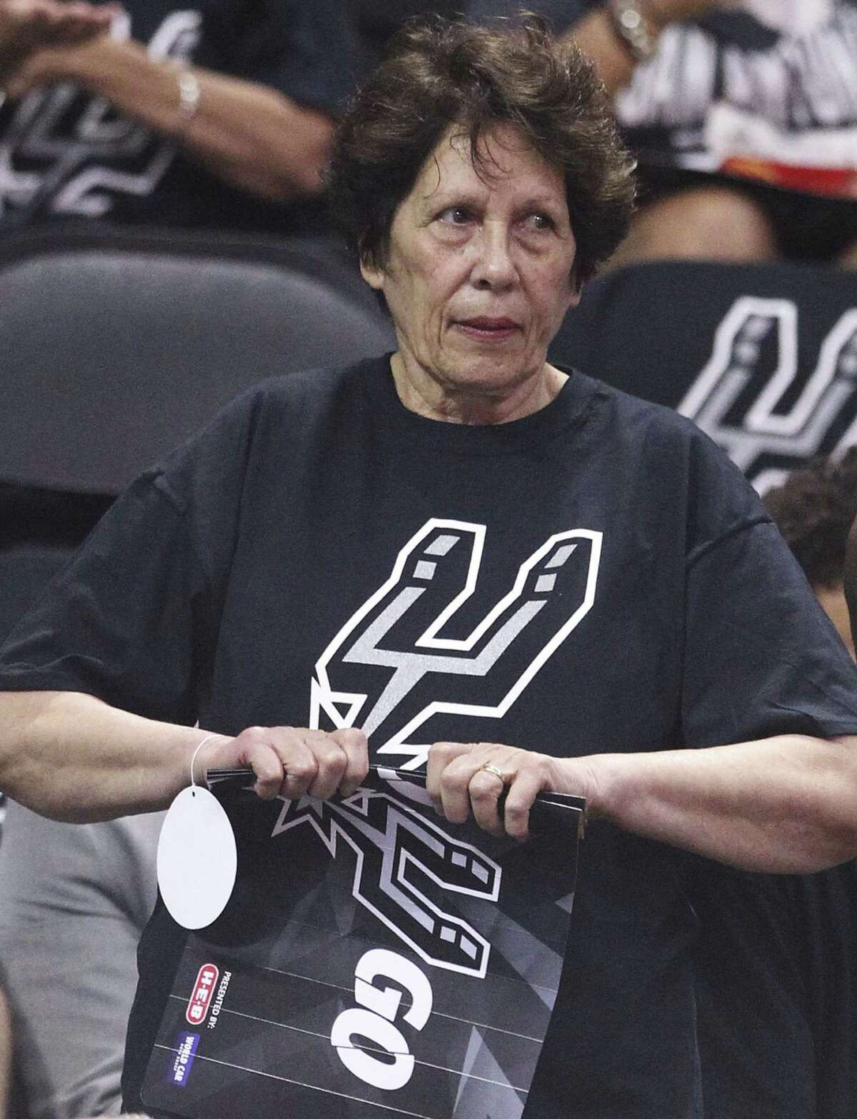 Yvonne Mills, the mother of Spur Patty Mills, watches from the stands during Game 1 of the NBA Finals.