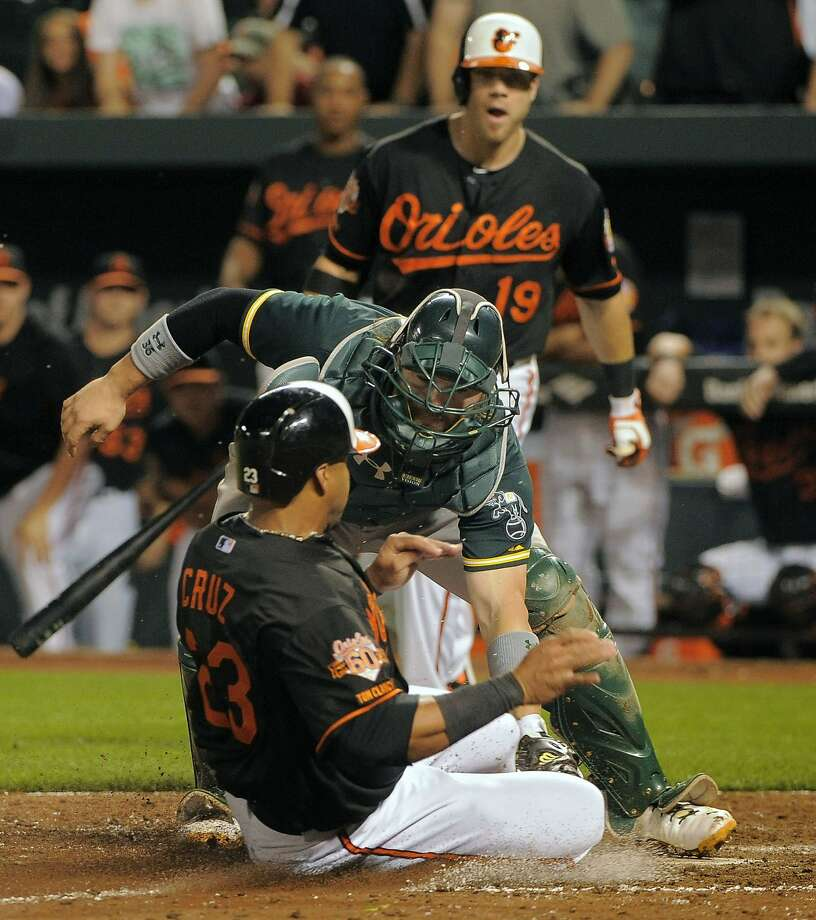 Orioles' Nelson Cruz is tagged out while trying to steal home. Photo: Karl Merton Ferron, McClatchy-Tribune News Service