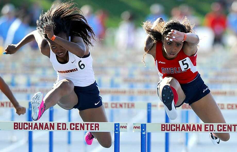 Dublin sophomore Mecca McGlaston (right) was the No. 1 qualifier in the 100 hurdles. Photo: Eric Taylor