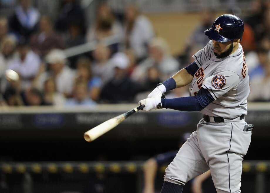 Marwin Gonzalez hits a solo home run during the third inning. Photo: Hannah Foslien, Getty Images