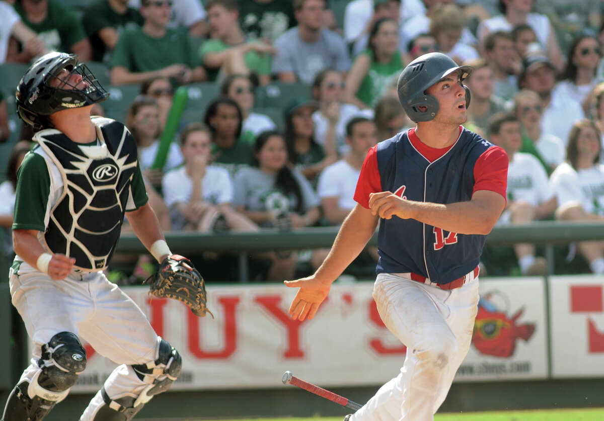 Atascocita junior pitcher Anthony Pagano follows a drive in the top of the 5th inning against San Antonio Reagan during their Class 5A 2014 UIL Baseball State Championships semifinal matchup at Dell Diamond in Round Rock on Friday.