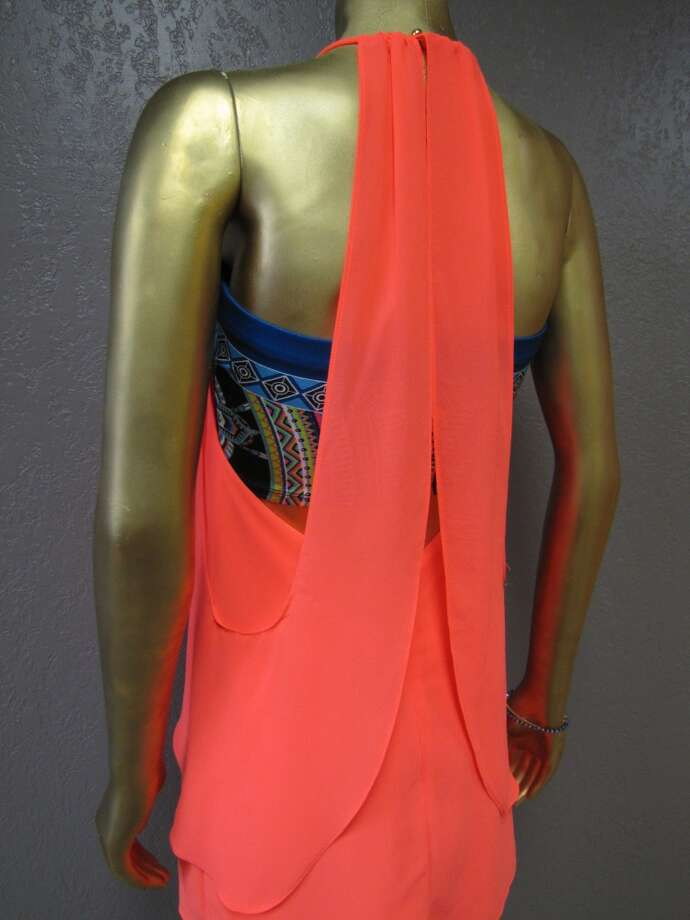 Neon coral draped dress, $52, Mixed print bandeau, $18, Simply Chic, Nederland
