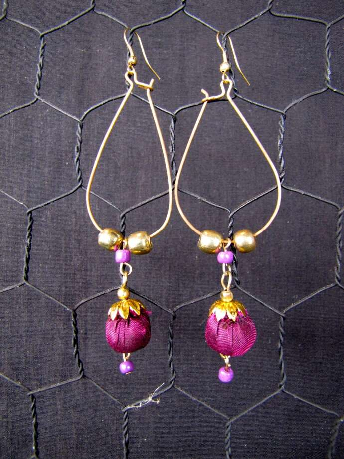 Magenta earrings, $15 Splash of Karma, Nederland