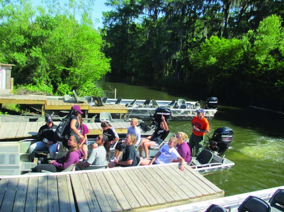 Members of the Mississippi State softball team filled a couple of swamp tour boats on a day off from a tourney being played in nearby Lafayette. Photo: Terry Scott Bertling, San Antonio Express-News
