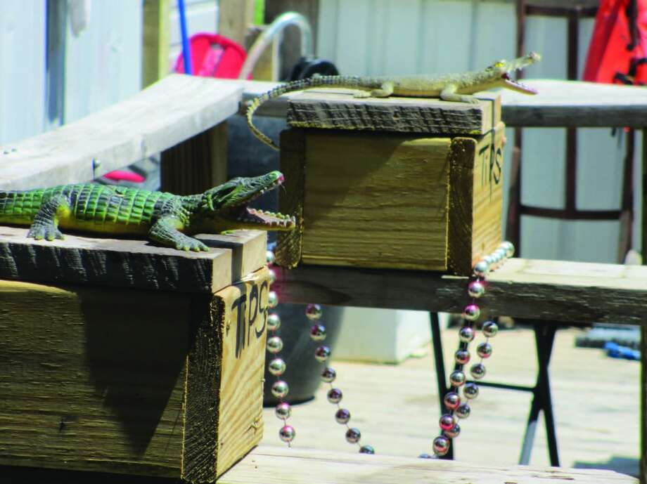Tip boxes near the boat dock include a reminder of the thrilling sights one can see on a Cajun swamp tour. Photo: Frank Bertling, For The Express-News