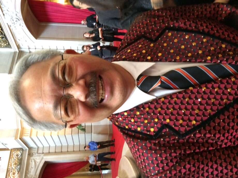 Mayor Ed Lee, resplendent in glad rags provided by 'BBB' Photo: Leah Garchik