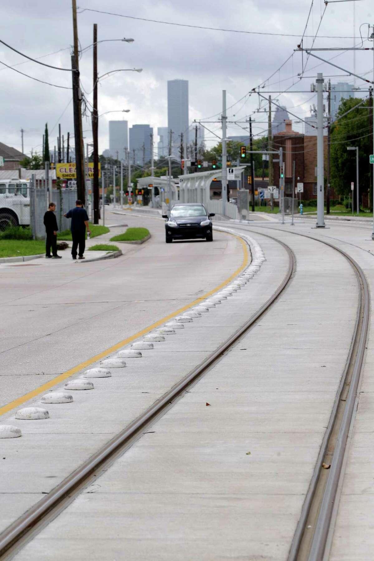 Metro's North Line light rail tracks are shown along Fulton Wednesday, Nov. 6, 2013, in Houston.