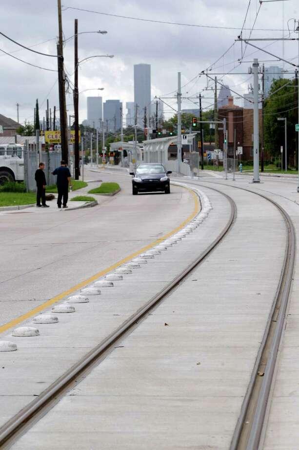 Metro's North Line light rail tracks are shown along Fulton Wednesday, Nov. 6, 2013, in Houston. Photo: Melissa Phillip, Staff / © 2013  Houston Chronicle