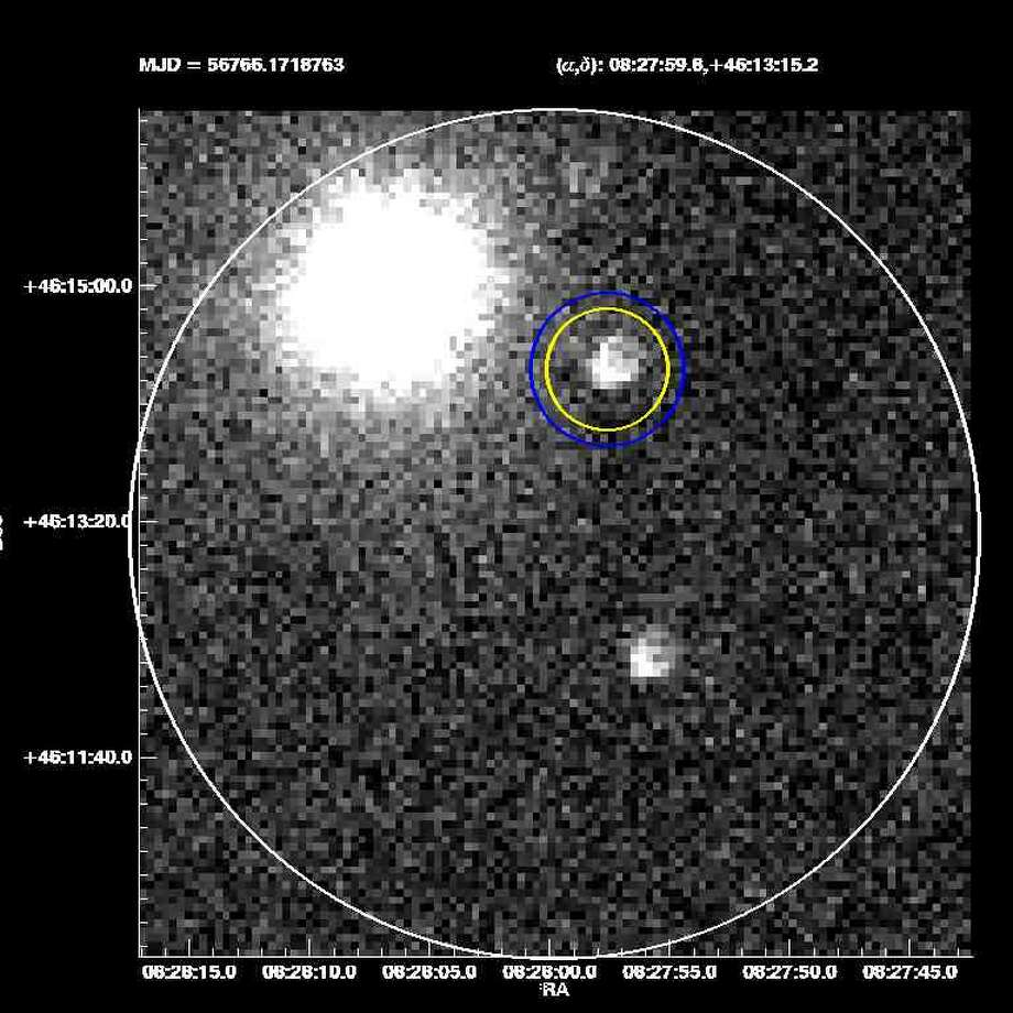 The bright light marked by a yellow ring is a gamma ray burst. A massive cosmic explosion which could potentially scatter new elements into the surrounding area and contributed to the birth of our solar system. Photo: Southern Methodist University