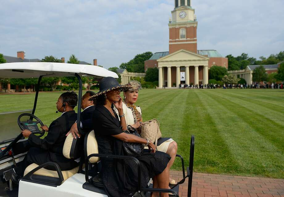 Mourners arrive for the memorial for Maya Angelou at Wake Forest University, where she taught for more than 30 years, in Winston Salem, N.C. Photo: Grant Halverson, Getty Images