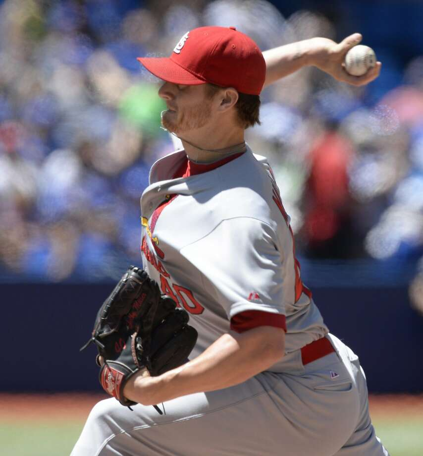 St. Louis Cardinals' pitcher Shelby Miller throws against the Toronto Blue Jays during the first inning of a baseball game in Toronto, Saturday, June 7, 2014. (AP Photo/The Canadian Press, Frank Gunn) Photo: Frank Gunn, Associated Press