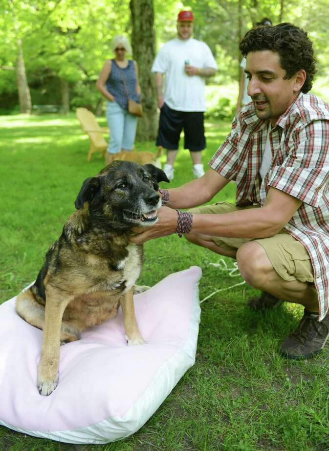 Dog trainer Eddie Simon plays with Lexi, an 11-year-old mixed dog, on a dog bed donated by the Shelter Dog Bed Project during Lexi's party at Carlson's Grove in New Milford, Conn. Saturday, June 7, 2014.  Local residents held a party for Lexi, who had run away for 42 days before being caught.  The neighborhood worked together using motion-sensing cameras and traps to help catch the dog and bring her home. Photo: Tyler Sizemore / The News-Times