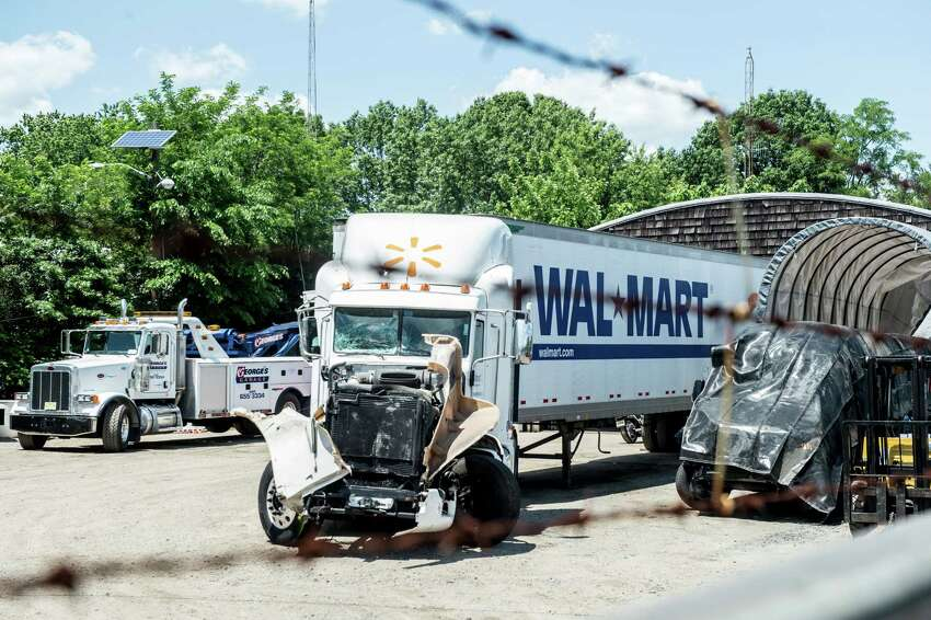A Wal-Mart truck that allegedly struck the vehicle of Tracy Morgan, an actor and comedian, in Cranbury, N.J., June 7, 2014. Morgan was critically injured early on Saturday after the limousine bus in which he was riding was hit by a tractor-trailer in a fatal six-vehicle accident on the New Jersey Turnpike, the State Police said.