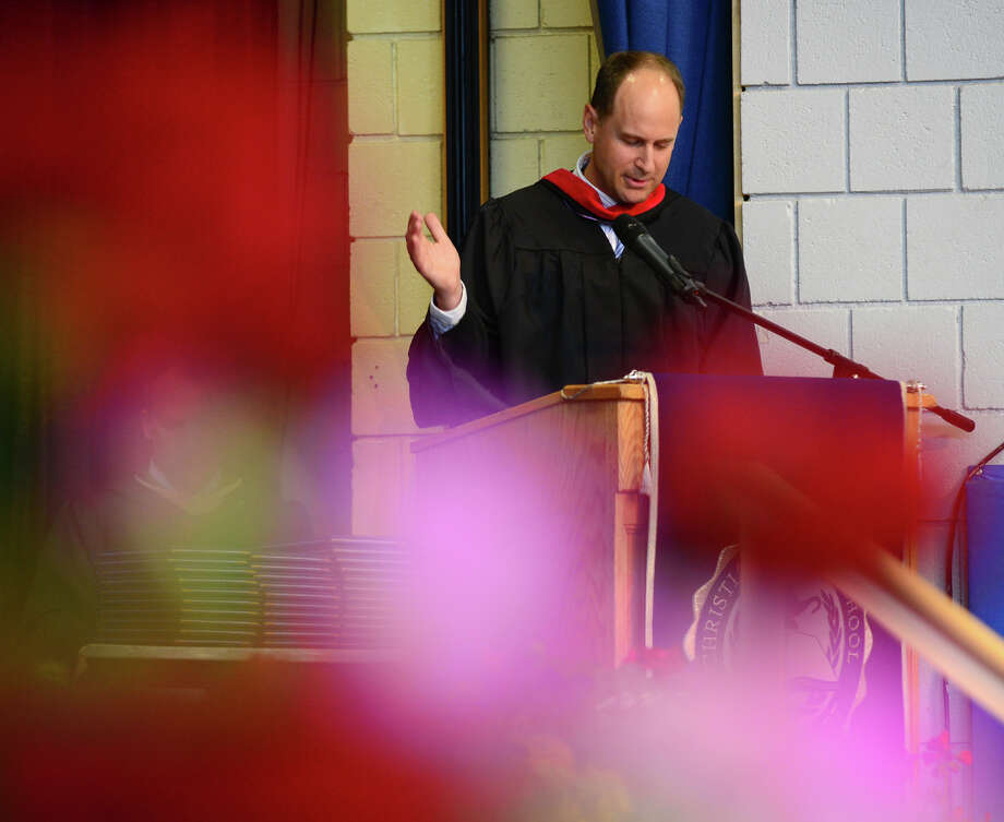 CHS Bible Department Chair Chris Macky, gives the Charge to Graduates speech, during the 31st Commencement Exercises of Christian Heritage School in Trumbull, Conn. on Saturday June 7, 2014. Photo: Christian Abraham / Connecticut Post
