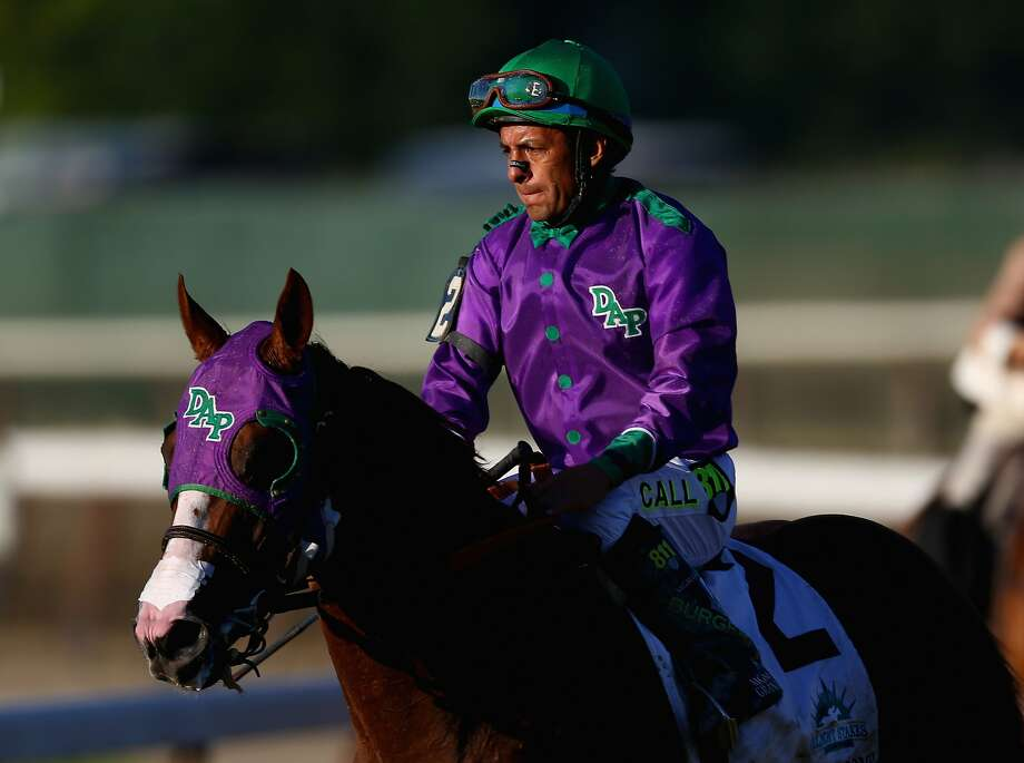 Victor Espinoza on California Chrome after losing the Belmont. Photo: Streeter Lecka, Getty Images