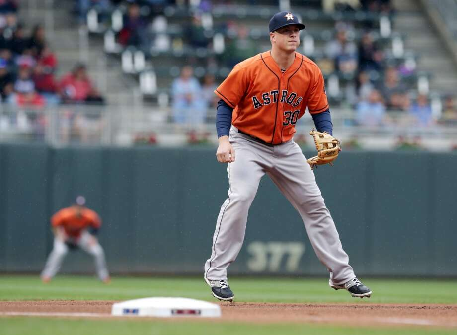Astros third baseman Matt Dominguez jumps to stay ready. Photo: Jim Mone, Associated Press