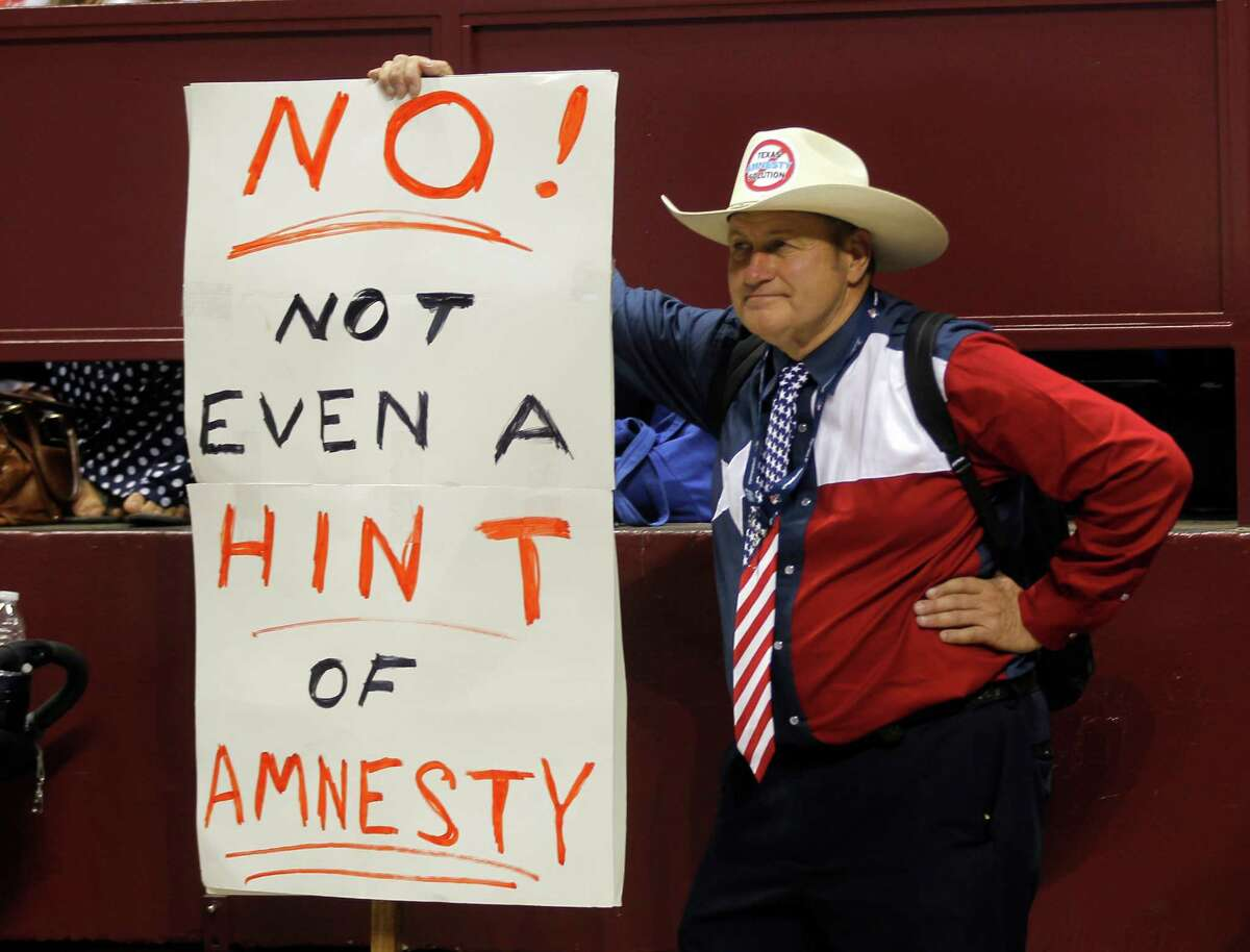 Jack Finger of San Antonio was on the prevailing side of the Republican vote on immigration policy endorsements at the Texas GOP convention in Fort Worth on Saturday.