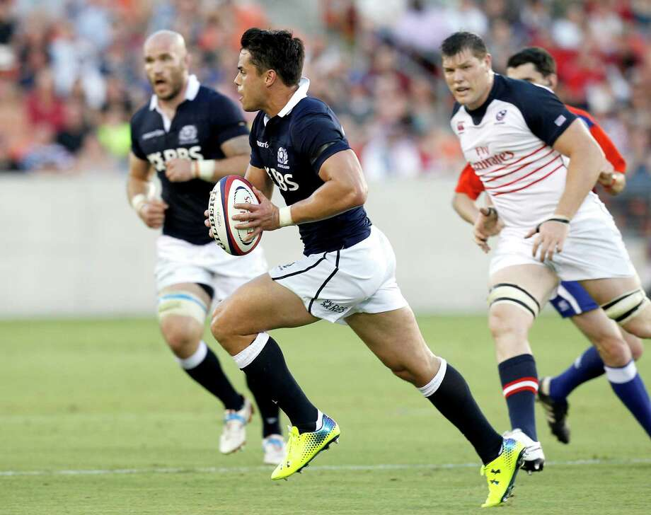 Scottish Rugby Sean Maitland (14) runs against the  Union U.S. Eagles in the first half at BBVA Stadium on June 7, 2014 in Houston, Texas, Photo: Thomas B. Shea, For The Chronicle / © 2014 Thomas B. Shea