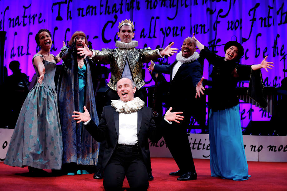 "Stephen DeRosa, kneeling, and other cast members finish a number in ""Sing for Your Shakespeaer,"" the hit musical revue at the Westport Country Playhouse. Photo: Westport News/Contributed Photo / Westport News"