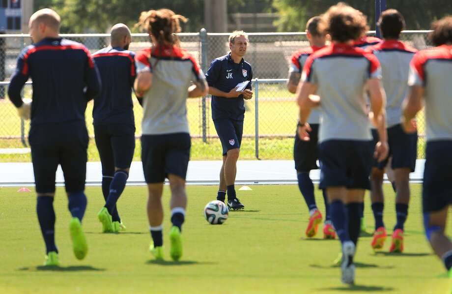 Coach Jurgen Klinsmann puts his U.S. team through its paces in Florida last week. After completing a three-game sweep of its send-off series, the team headed to Brazil. Photo: Bob Mack, Associated Press