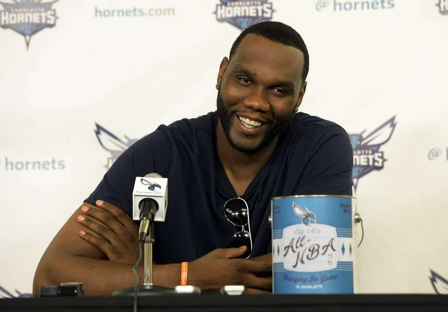 Charlotte Hornets NBA basketball player Al Jefferson smiles during an interview at Time Warner Cable Arena on Wednesday, June 4, 2014 in Charlotte, N.C. Jefferson was named Wednesday to the All-NBA third-team.  (AP Photo/The Charlotte Observer, David T. Foster III) MAGS OUT; TV OUT; NEWSPAPER INTERNET ONLY Photo: David T. Foster, III, Associated Press