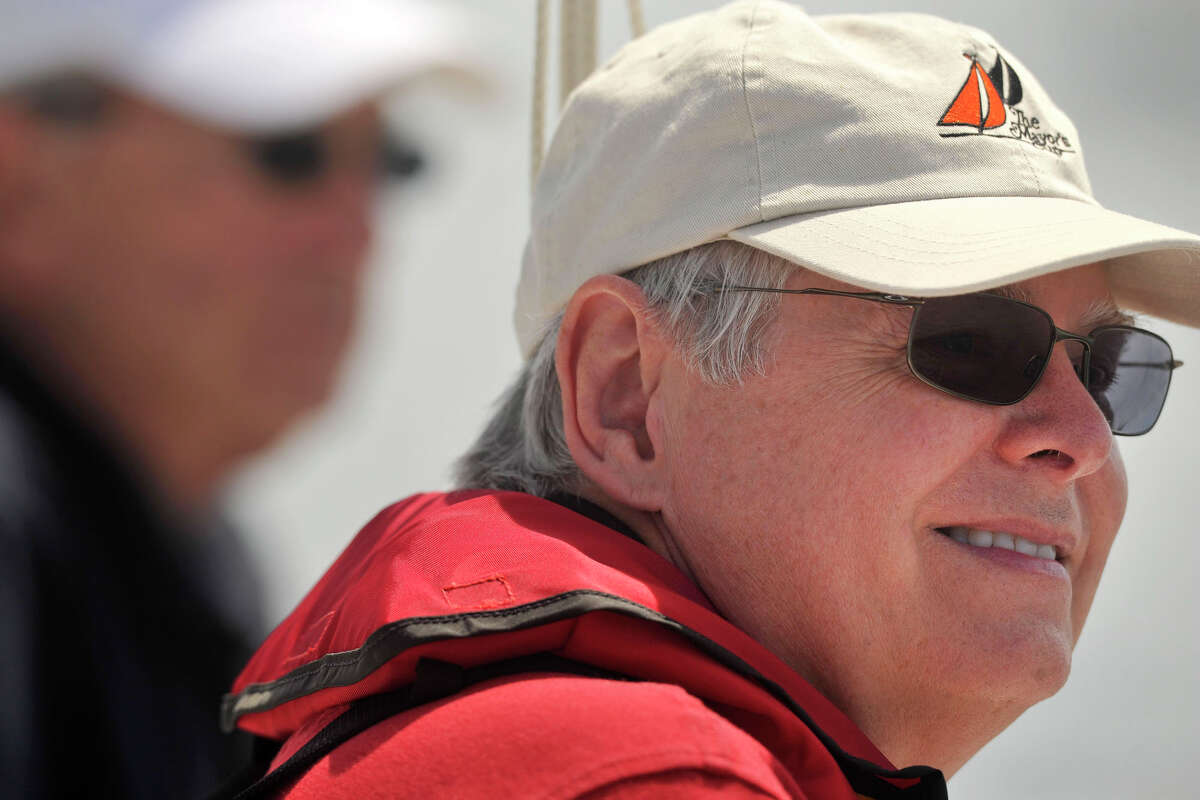 Mayor David Martin looks on from aboard the VIP boat before the start of the 29th annual Mayor's Cup Race on the Long Island Sound off shore from Stamford, Conn., on Sunday, June 8, 2014. The sailboat regatta was later cancelled due to a lack of wind.