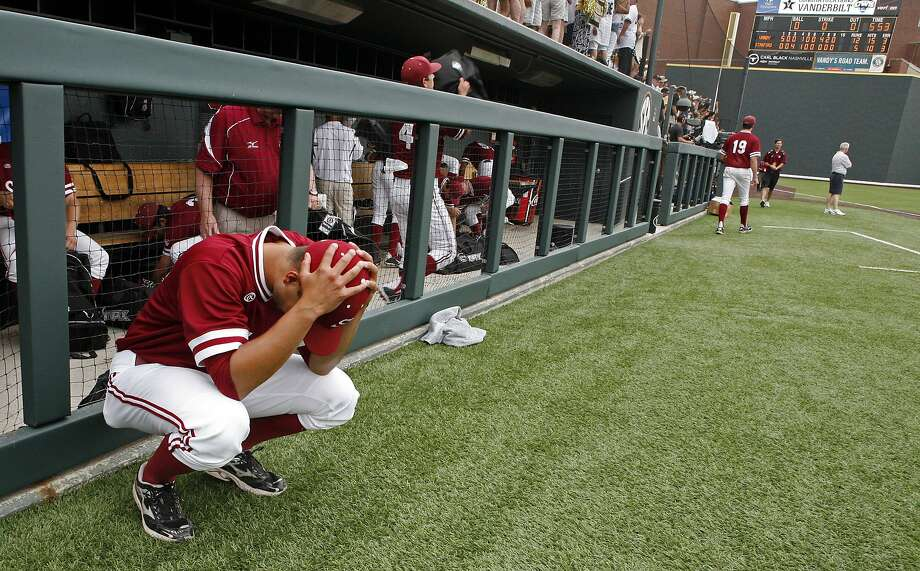 Stanford pitcher Sahil Bloom shows his dejection after a 12-5 super-regional loss to Vanderbilt in Nashville ended the Cardinal's season a game short of a berth in the College World Series. Photo: Wade Payne, Associated Press