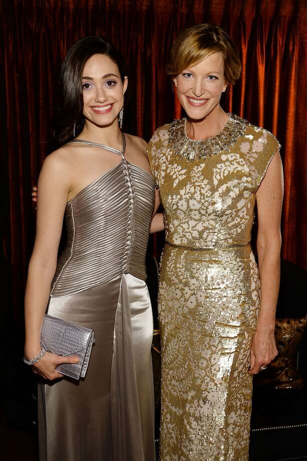 Actor Emmy Rossum (L) and Anna Gunn attend the 68th Annual Tony Awards at Radio City Music Hall on June 8, 2014 in New York City. Photo: Dimitrios Kambouris, (Credit Too Long, See Caption)